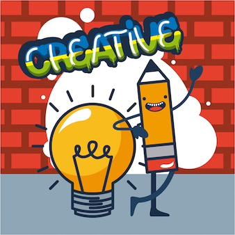 Illustration de crayon et ampoule