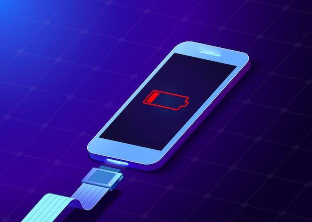 Illustration créative de batterie à faible charge smartphone avec câble de prises usb pour téléphone portable isolé