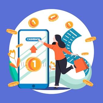 Illustration créative du concept de cashback avec téléphone