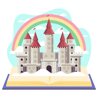 Illustration créative du concept de conte de fées avec château