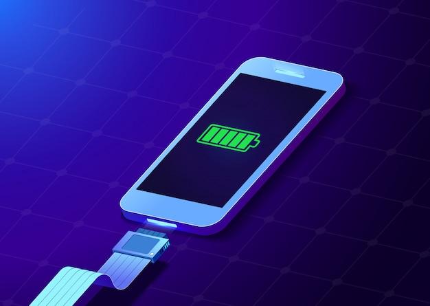 Illustration créative du smartphone à batterie complètement chargée avec un câble de prises usb pour téléphone portable isolé