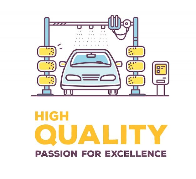 Illustration créative de lavage de voiture de couleur avec en-tête sur fond blanc.