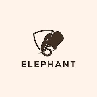Illustration créative tête d'éléphant silhouette animale faune logo style vecteur de conception