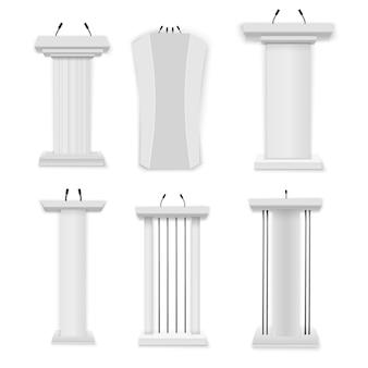 Illustration créative d'une tribune de podium avec des microphones sur un fond transparent. podium blanc, tribune avec micros. présentation d'affaires ou discours de conférence réaliste 3d se dresse.