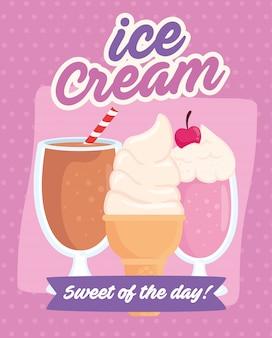 Illustration de la crème glacée, avec de délicieuses glaces