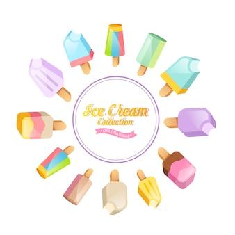 Illustration de la crème glacée. sundae de crème glacée sur le fond. ensemble de crème glacée.