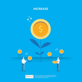 Illustration de croissance d'arbre de pièce d'argent de plante pour le concept d'investissement.