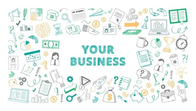 Illustration de croquis d'affaires dessinés à la main