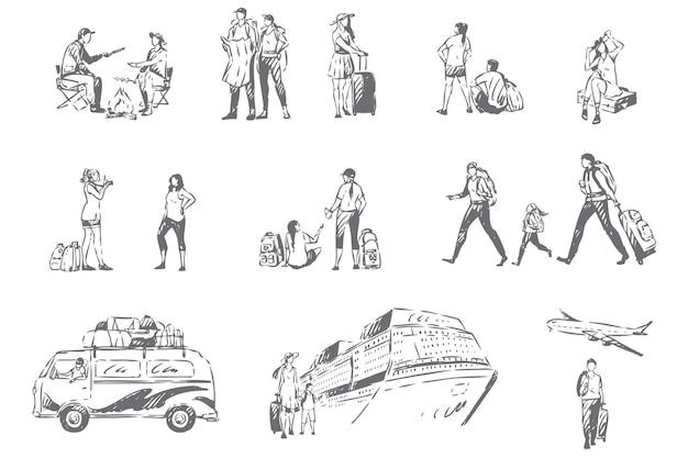 Illustration de croquis de concept de saison de vacances de tourisme d'été