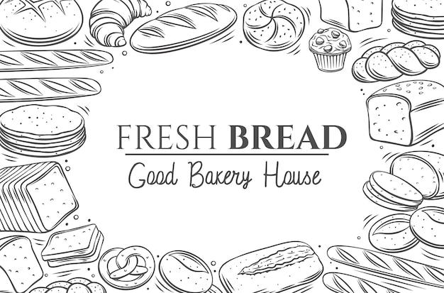 Illustration de croquis de contour monochrome de mise en page de produits de pain