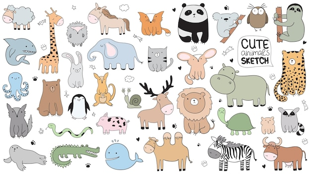 Illustration de croquis de dessin animé de vecteur avec des animaux mignons de griffonnage. parfait pour carte postale, anniversaire, livre de bébé, chambre d'enfant. agneau, crocodile, zèbre, chameau, poulpe, baleine, requin, loup, vache, escargot