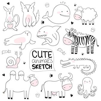 Illustration de croquis de dessin animé de vecteur avec des animaux mignons de griffonnage parfait pour la carte postale