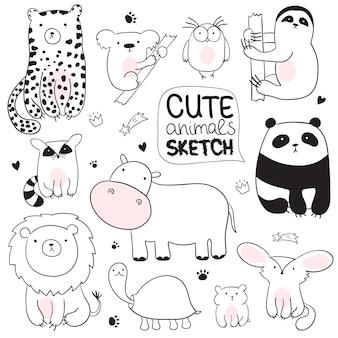 Illustration de croquis de dessin animé de vecteur avec des animaux mignons de griffonnage