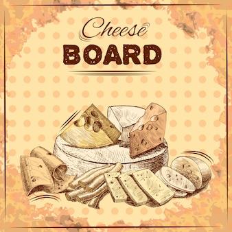Illustration de croquis de fromage