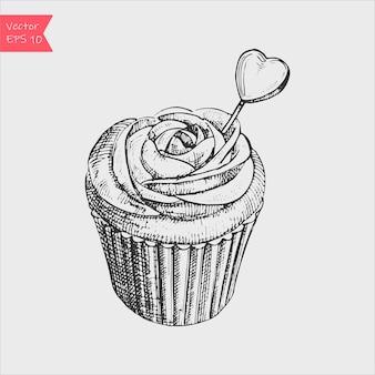 Illustration de croquis noir et blanc de vecteur de petit gâteau sucré crémeux mignon.
