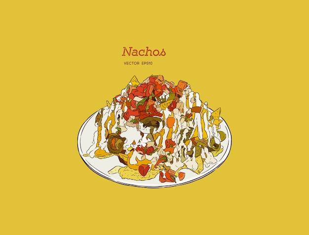 Illustration de croquis de nourriture dessinés à la main vintage isolé - nachos