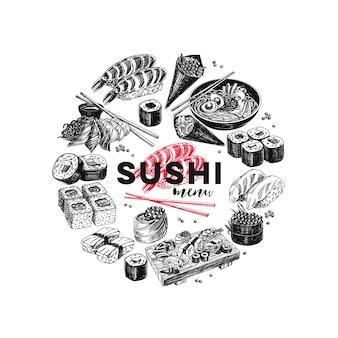 Illustration de croquis de nourriture japonaise dessinés à la main vintage.
