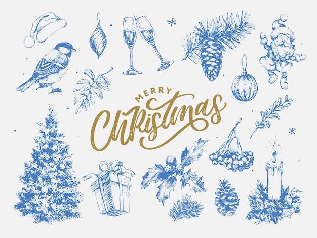 Illustration de croquis de nouvel an et noël