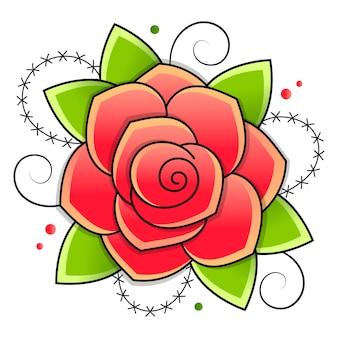 Illustration avec des croquis de roses noires et rouges isolées