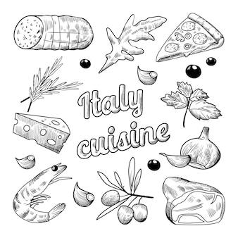 Illustration de cuisine italienne dessinée à la main