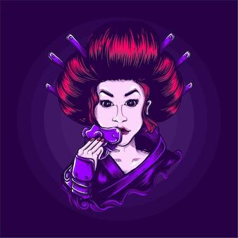 Illustration de la culture japonaise geisha
