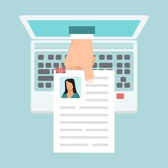 Illustration de cv en ligne. concept d'entreprise de recrutement en ligne.