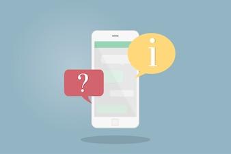 Illustration d'un téléphone portable avec des bulles