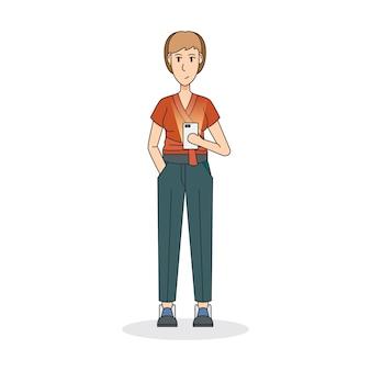 Illustration d'une femme tenant un téléphone