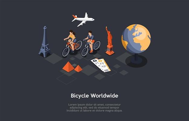 Illustration dans le style 3d de dessin animé, composition isométrique avec des objets et des personnages. vélo dans le monde entier. infographie. tour à vélo, voyage sportif actif, voyage écologique, bonne compagnie. visites