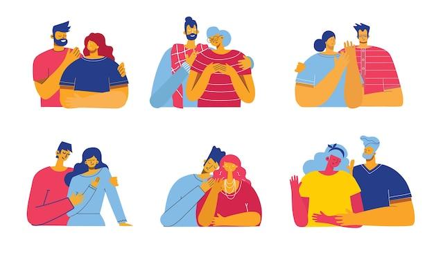 Illustration dans un style plat de couples heureux amoureux