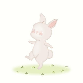Illustration de danse de lapin bébé kawaii mignon