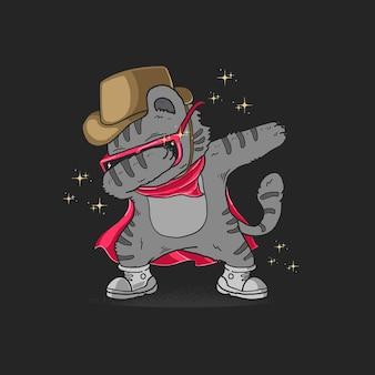 Illustration de danse mignon chat cowboy tamponnant