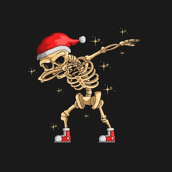Illustration de danse mignon squelette noël tamponnant