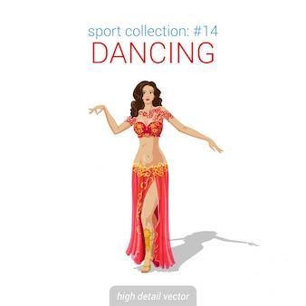 Illustration de danseuse orientale arabe femme danse orientale.