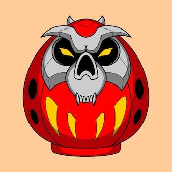 Illustration de daruma de crâne dessiné à la main 7