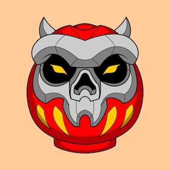 Illustration de daruma de crâne dessiné à la main 9