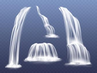 Illustration de cascade ou de cascade d'eau. Ensemble réaliste isolé de ruisseaux qui tombent