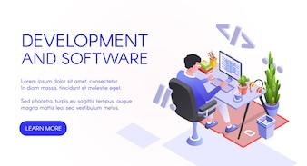 Illustration de développement logiciel d'un développeur web ou d'un programmeur sur ordinateur.