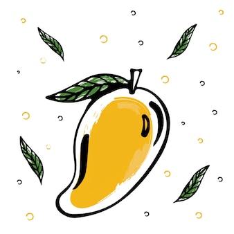 Illustration de doodle à la mangue fraîche