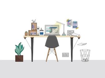Illustration de l'espace de travail de bureau à domicile