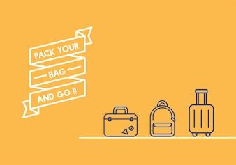 Illustration de la bannière de ruban de voyage