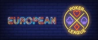 Illustration de la ligue de poker européenne dans le style néon. Le texte et la carte mènent à la roulette
