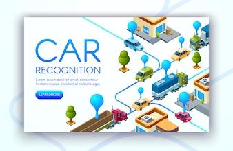 Illustration de la technologie de reconnaissance des véhicules des plaques d'immatriculation
