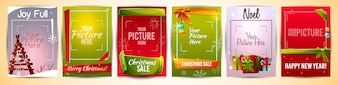 Illustration de modèles de cartes de voeux de Noël avec cadre photo