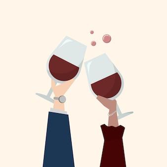 Illustration de personnes buvant du vin