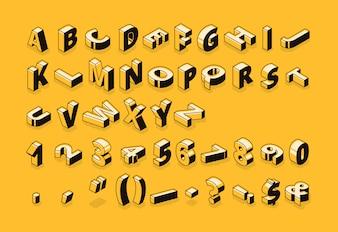 Illustration de polices de demi-teintes de lettres isométrique de dessin animé fine ligne