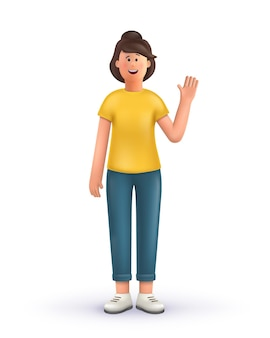 Illustration debout de personnage de dessin animé 3d