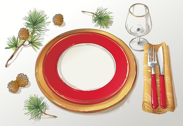 Illustration de la décoration de table de noël
