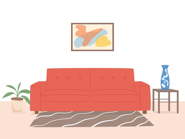 Illustration décorative simple de salon intérieur élégant