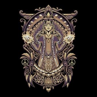 Illustration d & # 39; une déesse qui pleure avec un ornement traditionnel